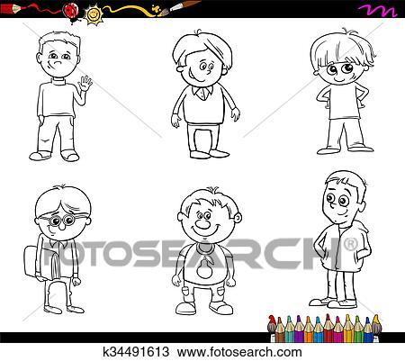 Clipart - niño, niños, conjunto, libro colorear k34491613 - Buscar ...