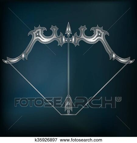 Clip Art Of Silver Bow And Arrow Zodiac Sagittarius Sign K35926897