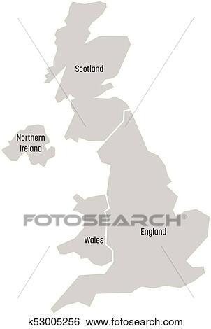 Map Of England Wales Scotland.United Kingdom Aka Uk Of Great Britain And Northern Ireland Map