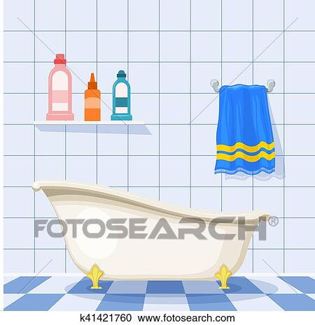 Clipart Of Vector Illustration Of Vintage Bathtub On The Tiled Floor Beauteous Bathroom Clipart Set