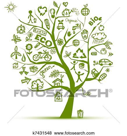 Clipart Verde Ecologia árvore Conceito Para Seu Desenho