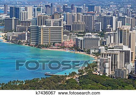 Waikiki Beach And The Skyline Of Honolulu Hawaii Stock Photo