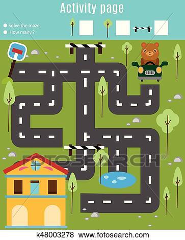 Clip Art - actividad, página, para, kids., educativo, game ...