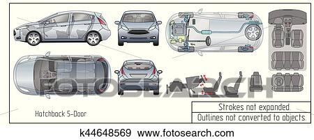 Clip Art   Car Hatchback Interior Parts Engine Seats Dashboard Drawing  Blueprint Outlines Not Converted To