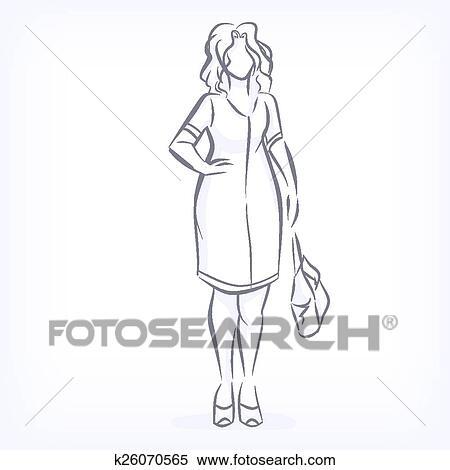 Clipart Contorno Di Sovrappeso Elegante Donna K26070565
