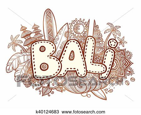 Henna Colors Vector Bali Sign On Hand Drawn Doodle Style Symbols Of