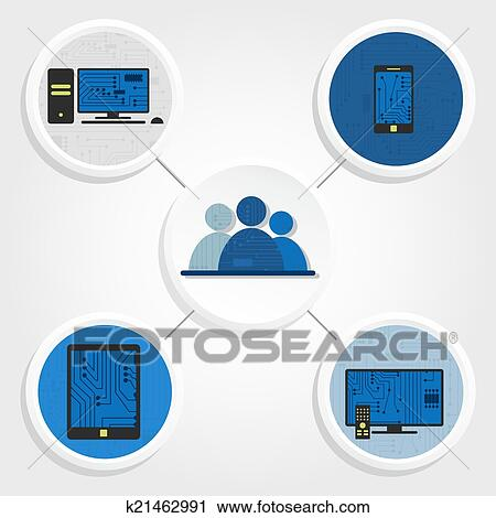 Clipart of Electronic and social media k21462991 - Search ...