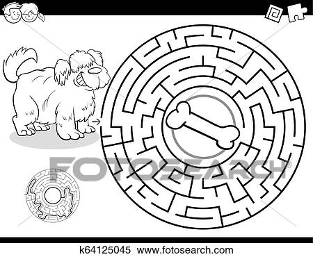 Maze Color Book With Dog And Bone Clipart K64125045 Fotosearch