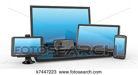 dessin ordinateur portable t l phone portable pc tablette et gps 3d k7447223. Black Bedroom Furniture Sets. Home Design Ideas
