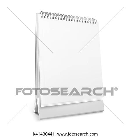 Calendario Vector Blanco.Vector Blanco Posicion Calendario De Escritorio Con Un Spiral Clipart
