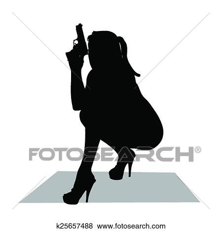 clip art of girl with gun vector silhouette k25657488 search