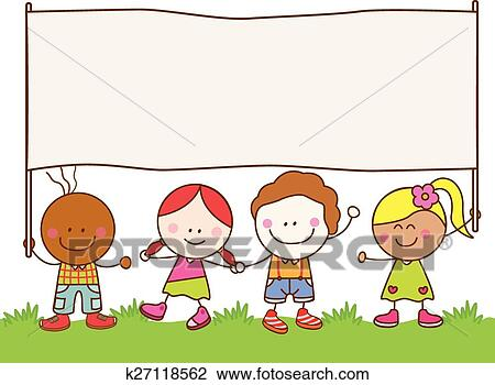 clipart of kids holding banner at park k27118562 search clip art rh fotosearch com park clip art with dogs park clip art with dogs