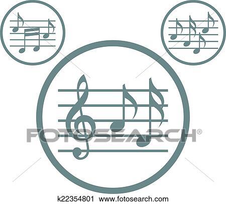 Clipart - música, hojas, con, g, llave, y, notas, vector, iconos ...