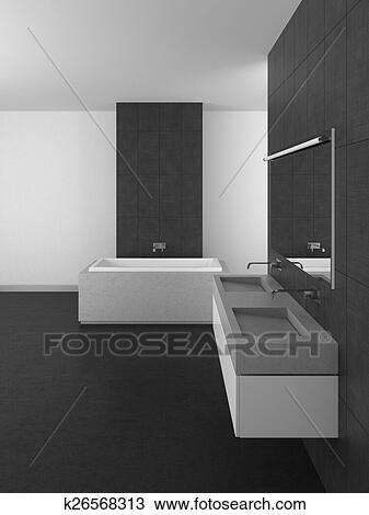 Modernes, badezimmer, mit, grau, fliesenmuster, und, dunkel, boden Zeichnung