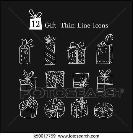 Simple Set of Gifts Vector Thin Line Icons. Gift boxes with