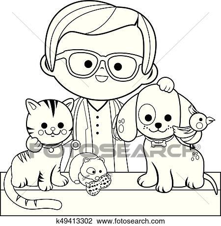 Clipart - tierarzt, und, pets., ausmalbilder, seite k49413302 ...