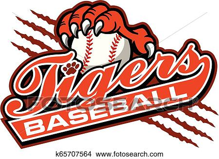 Cartoon Tiger Playing Baseball Clipart Illustration