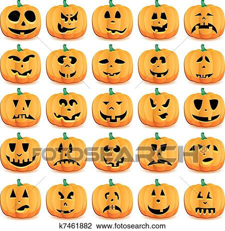 Clipart Of Big Set Of Halloween Pumpkins With Jack Olantern Face
