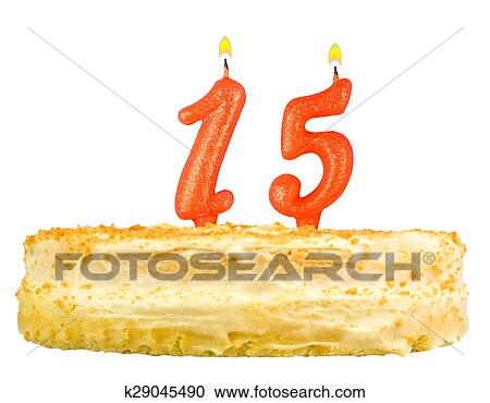 Stock Photography Of Birthday Cake Candles Number Fifteen Isolated