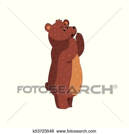 Clip Art - caricatura, rugir, oso pardo, bear., animal salvaje, con ...