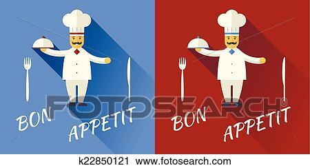 Dessin Animé Chef Cuisinier Caractère Symbole Toque Cuisine Chapeau à Moustache Prise Couvercle Nourriture Icône Sur élégant Fond