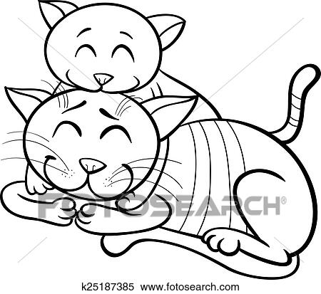 Clipart of happy cat and kitten coloring book k25187385 - Search ...