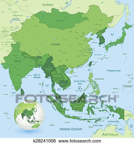 Map Of The World In Detail.High Detail Vector Map Of Far East Asia Clip Art