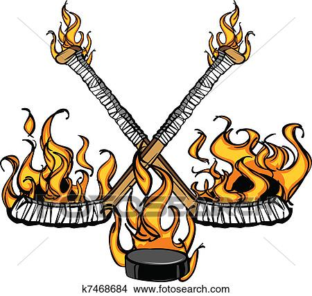clipart of hockey sticks and puck flaming cart k7468684 search rh fotosearch com hockey clip art images free hockey clipart images
