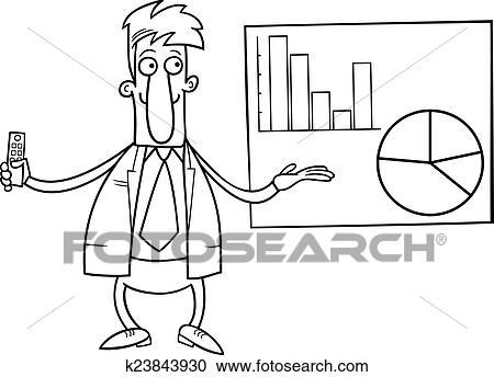 Hombre De Negocios Presentación Colorido Página Clipart