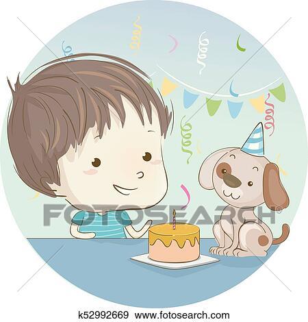 Kid Boy Dog Birthday Cake Clip Art