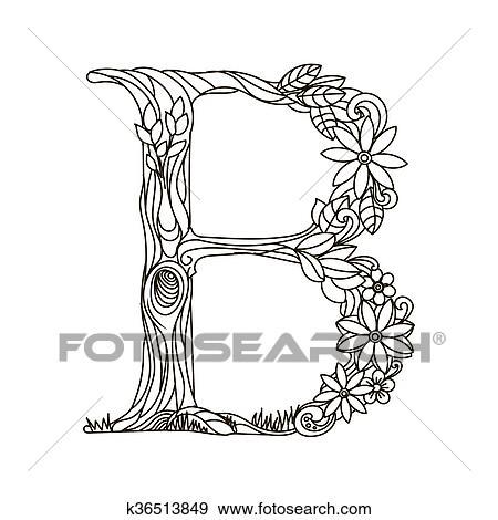 Clip Art - letra b, libro colorear, para, adultos, vector k36513849 ...