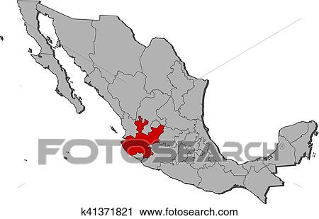 Map - Mexico, Jalisco Clipart