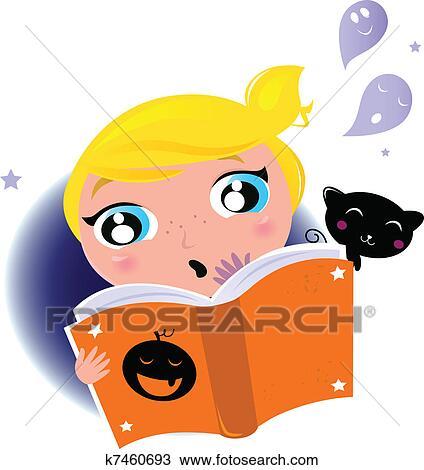 Mignon Peu Gosse Lecture Halloween Livre Histoire Clipart