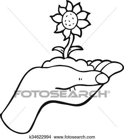 Noir Blanc Dessin Animé Fleur Croissant Dans Paume De Main Clipart