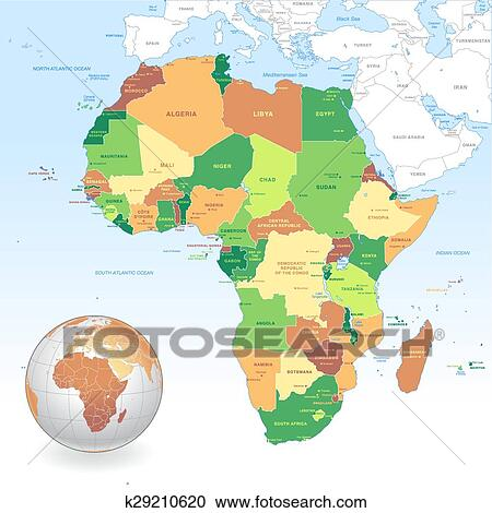 Vector Classic Africa Map Clipart