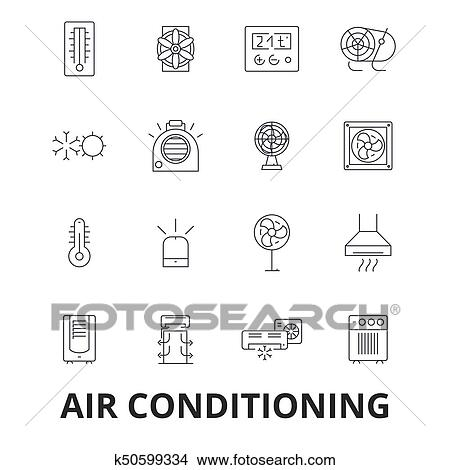 Clipart Of Air Conditioning Hvac Coolling Heating Refrigerator