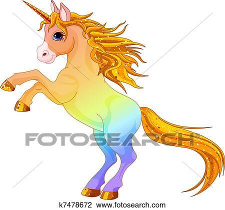 Arcobaleno Colorato Unicorno Clipart K7478672