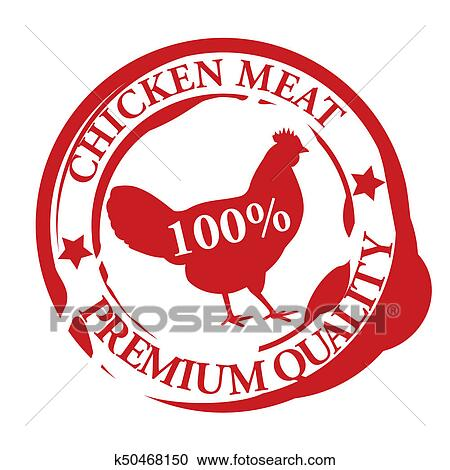 Chicken Meat Rubber Stamp Red Color