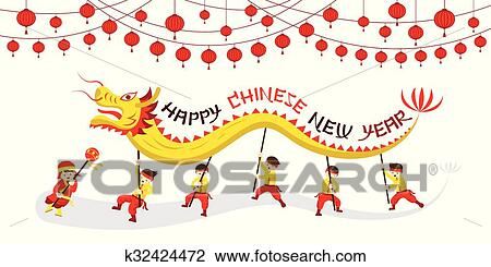 clipart chinese new year dragon dancing fotosearch search clip art illustration