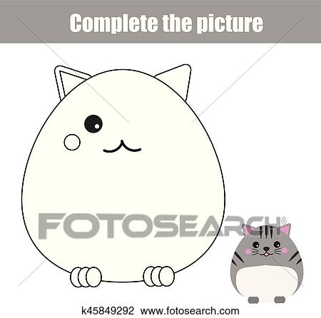 Complete Picture Children Educational Game Coloring Page Kids Activity Sheet With Cute Cat Character Animals Theme Clipart