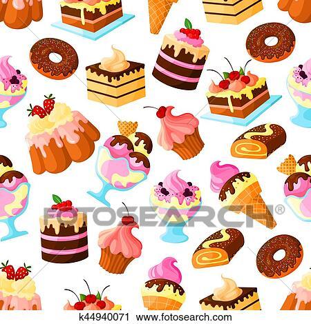 Clipart Geback Nachtisch Kuchen Seamless Vektor Muster