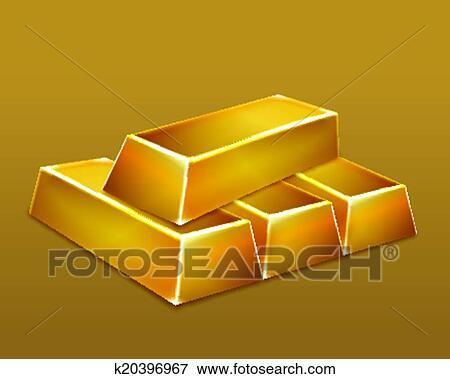 Clip Art Of Gold Bars Vector K20396967