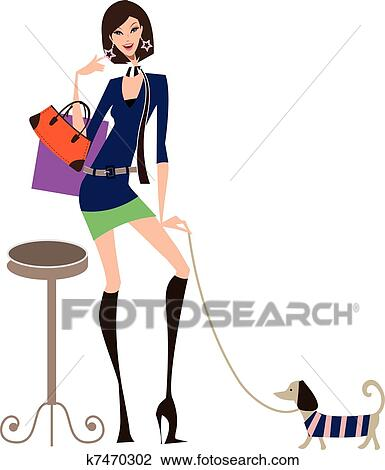 0438ab0ae4c9 Shopping, donna Clipart | k7470302 | Fotosearch