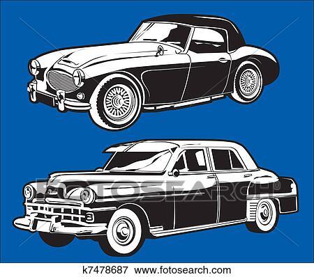 Clip Art Of Vintage Cars K7478687 Search Clipart Illustration