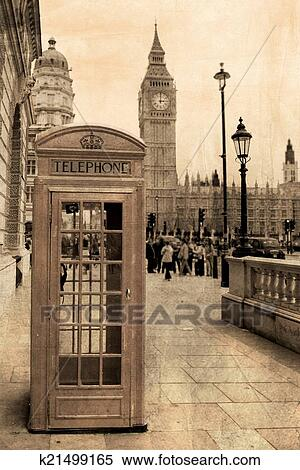 Vintage view of London, Big Ben & phone booth Stock Photography