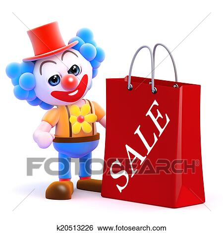 c788c97b711 Stock Illustration - 3d Clown has been to the sales. Fotosearch - Search  Clip Art
