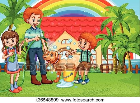 Disegno Bagno Per Bambini : Clip art babbo e bambini dare cane uno bagno k36548809