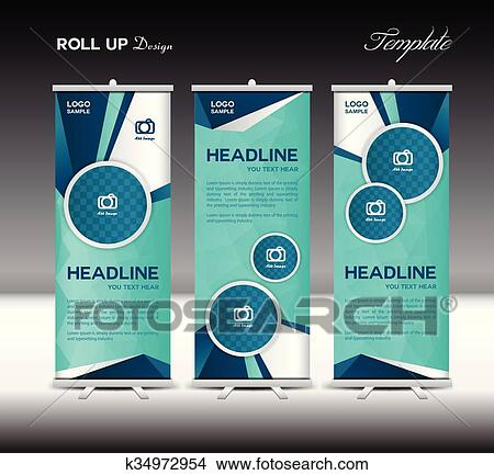 Blue Roll Up Banner Template Vector Illustration Clipart
