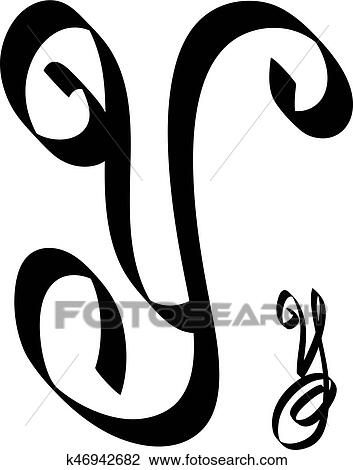 Clipart Of Calligraphy Letter Y K46942682