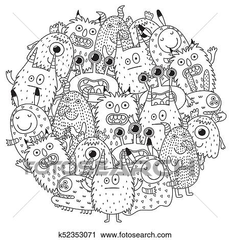 Clipart - divertido, monstruos, círculo, forma, patrón, para, libro ...